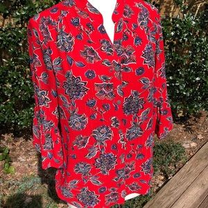 NWOT Ruby Rd.Red Floral Blouse